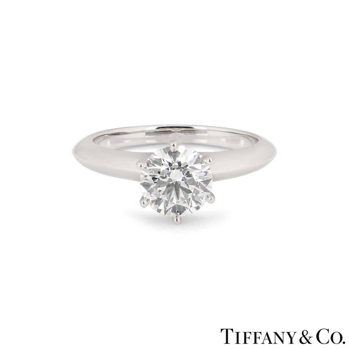 Tiffany & Co. Platinum Diamond Setting Ring 1.31ct H/VS1